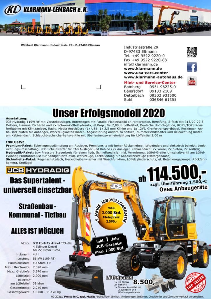 Angebot Erfolgsmodell Mobilbagger JCB HYDRADIG